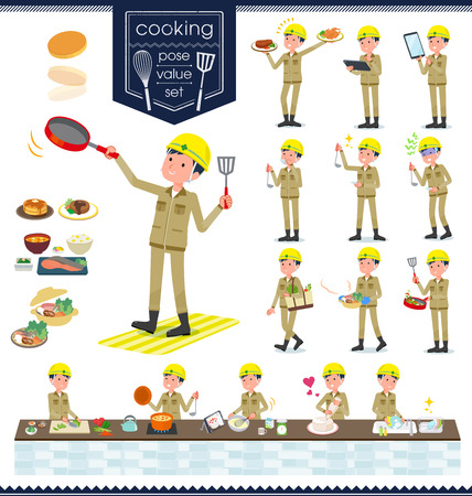 A set of working man about cooking.There are actions that are cooking in various ways in the kitchen.It's vector art so it's easy to edit.