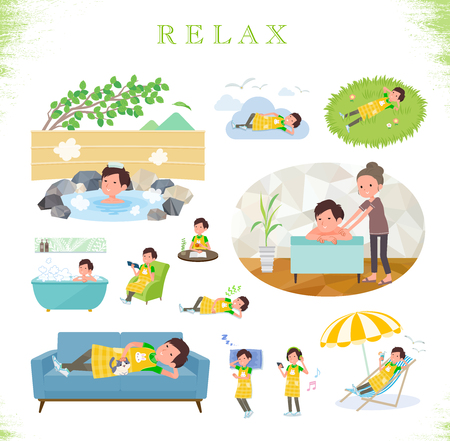 A set of Childminder man about relaxing.There are actions such as vacation and stress relief.Its vector art so its easy to edit.