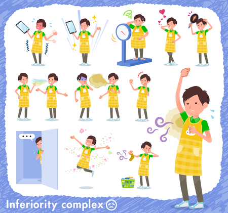 A set of Childminder man on inferiority complex.There are actions suffering from smell and appearance.Its vector art so its easy to edit. Çizim