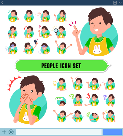 A set of Childminder man with expresses various emotions on the SNS screen.There are variations of emotions such as joy and sadness.It's vector art so it's easy to edit.