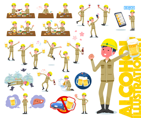 A set of working man related to alcohol.There is a lively appearance and action that expresses failure about alcohol.It's vector art so it's easy to edit.