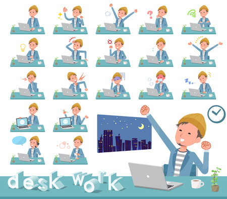 A set of young man on desk work.There are various actions such as feelings and fatigue.Its vector art so its easy to edit.
