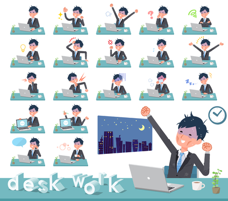 A set of bad condition businessman on desk work.There are various actions such as feelings and fatigue.Its vector art so its easy to edit.