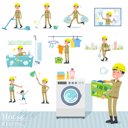 A set of working man related to housekeeping such as cleaning and laundry.There are various actions such as child rearing.It's vector art so it's easy to edit.
