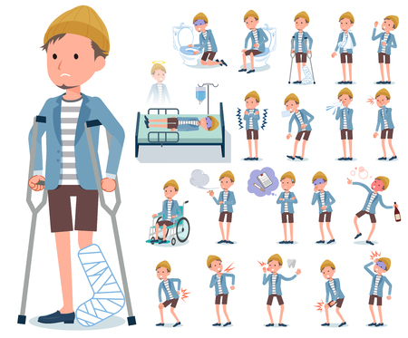 A set of young man with injury and illness.There are actions that express dependence and death.It's vector art so it's easy to edit. Vector Illustratie