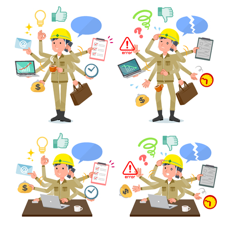 A set of working man who perform multitasking in the office.There are things to do smoothly and a pattern that is in a panic.Its vector art so its easy to edit.