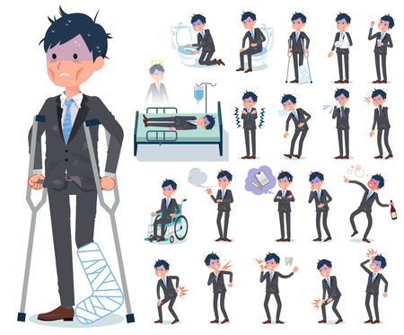 A set of bad condition businessman with injury and illness.There are actions that express dependence and death.It's vector art so it's easy to edit. Banque d'images - 124041108