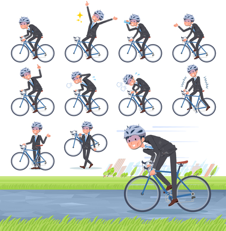 A set of bad condition businessman on a road bike.There is an action that is enjoying.It's vector art so it's easy to edit.