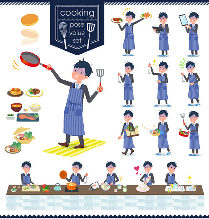 A set of bad condition businessman about cooking.There are actions that are cooking in various ways in the kitchen.It's vector art so it's easy to edit.