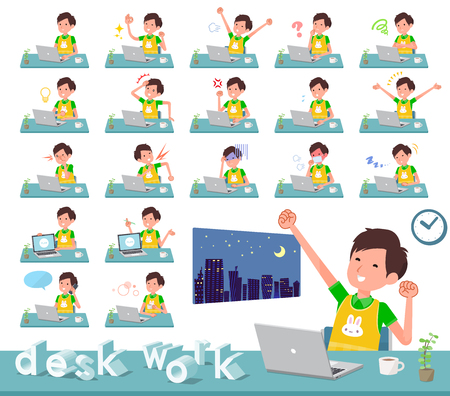 A set of Childminder man on desk work.There are various actions such as feelings and fatigue.It's vector art so it's easy to edit. Illustration