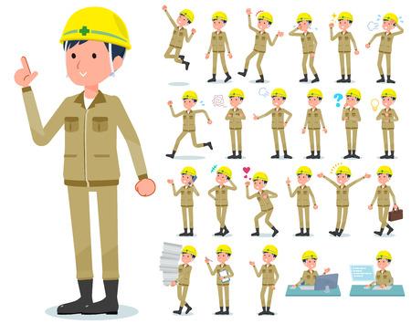 Eine Reihe von Arbeitern, die verschiedene Emotionen ausdrücken. Es gibt Aktionen im Zusammenhang mit Arbeitsplätzen und PCs. Es handelt sich um Vektorgrafiken, die leicht zu bearbeiten sind.