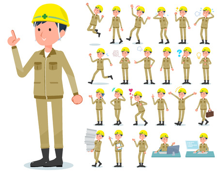 A set of working man with who express various emotions.There are actions related to workplaces and personal computers.It's vector art so it's easy to edit.