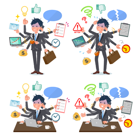 A set of bad condition businessman who perform multitasking in the office.There are things to do smoothly and a pattern that is in a panic.Its vector art so its easy to edit. 일러스트