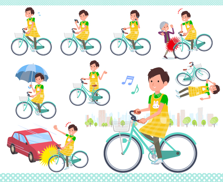 A set of Childminder man riding a city cycle.There are actions on manners and troubles.It's vector art so it's easy to edit.