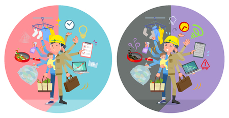 A set of working man who perform multitasking in offices and private.There are things to do smoothly and a pattern that is in a panic.It's vector art so it's easy to edit.