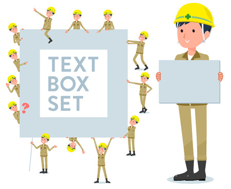 A set of working man with a message board.Since each is divided, you can move it freely.It's vector art so it's easy to edit.