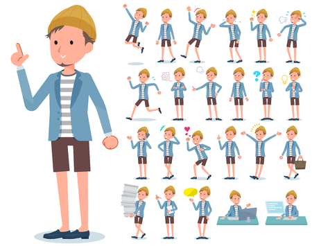 A set of young man with who express various emotions.There are actions related to workplaces and personal computers.It's vector art so it's easy to edit. Banque d'images - 115137391