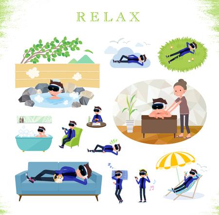 Un conjunto de hombres con gafas de realidad virtual sobre cómo relajarse. Hay acciones como vacaciones y alivio del estrés. Es arte vectorial.