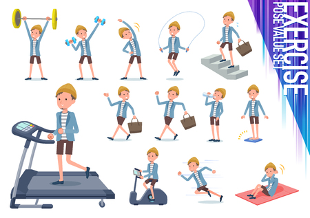 A set of young man on exercise and sports.There are various actions to move the body healthy.It's vector art so it's easy to edit.
