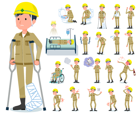 A set of working man with injury and illness.There are actions that express dependence and death.It's vector art so it's easy to edit.