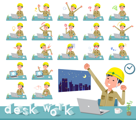 A set of working man on desk work.There are various actions such as feelings and fatigue.Its vector art so its easy to edit. Illustration