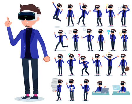A set of men wearing virtual reality goggles with who express various emotions.There are actions related to workplaces and personal computers.It's vector art. Banque d'images - 115137399