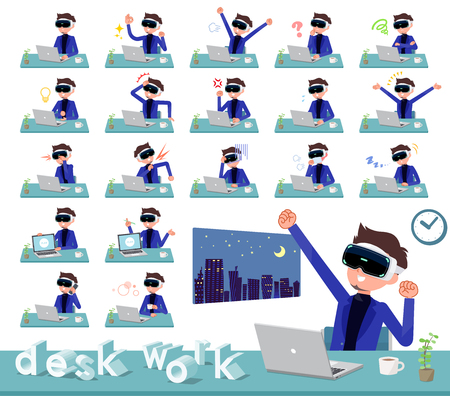 A set of men wearing virtual reality goggles on desk work.There are various actions such as feelings and fatigue.Its vector art. Illustration