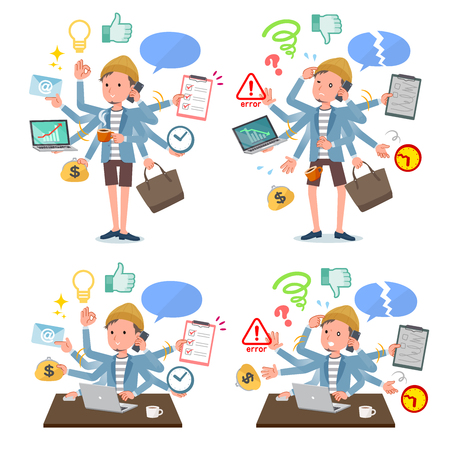 A set of young man who perform multitasking in the office.There are things to do smoothly and a pattern that is in a panic.Its vector art so its easy to edit.