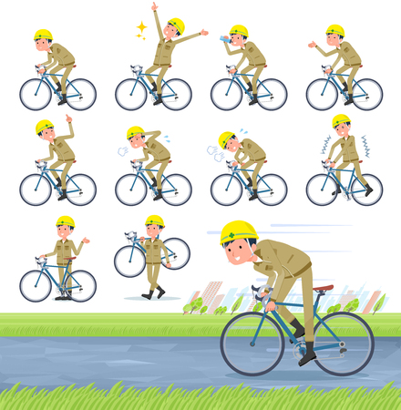 A set of working man on a road bike.There is an action that is enjoying.It's vector art so it's easy to edit.