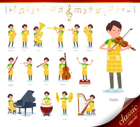 A set of Childminder man on classical music performances.There are actions to play various instruments such as string instruments and wind instruments.It's vector art so it's easy to edit.