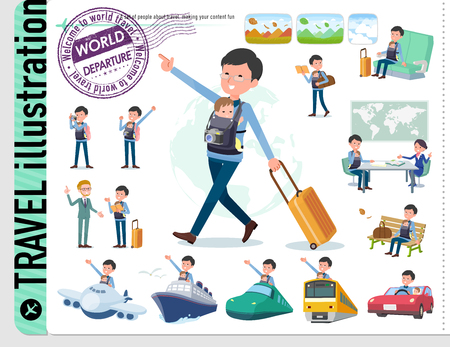A set of man holding a baby on travel.There are also vehicles such as boats and airplanes.It's vector art so it's easy to edit.