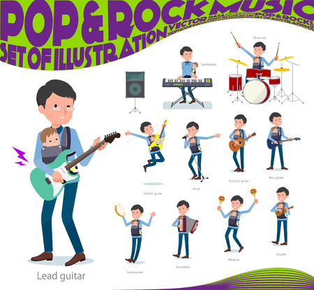 A set of man holding a baby playing rock 'n' roll and pop music.There are also various instruments such as ukulele and tambourine.It's vector art so it's easy to edit.