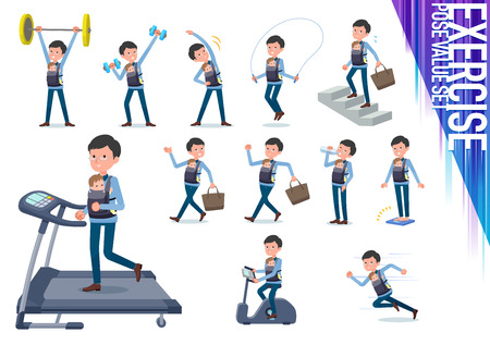 A set of man holding a baby on exercise and sports.There are various actions to move the body healthy.It's vector art so it's easy to edit. Illusztráció