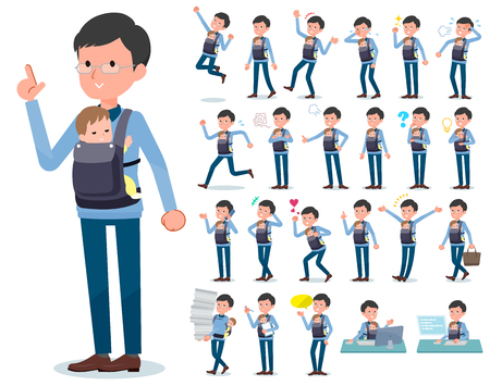 A set of man holding a baby with who express various emotions.There are actions related to workplaces and personal computers.It's vector art so it's easy to edit. Illustration
