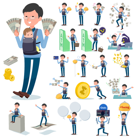 A set of man holding a baby with concerning money and economy.There are also actions on success and failure.It's vector art so it's easy to edit. Illustration