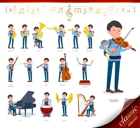 Ein Mann, der ein Baby bei klassischen Musikaufführungen hält. Es gibt Aktionen zum Spielen verschiedener Instrumente wie Saiteninstrumente und Blasinstrumente. Es handelt sich um Vektorgrafiken, die leicht zu bearbeiten sind.