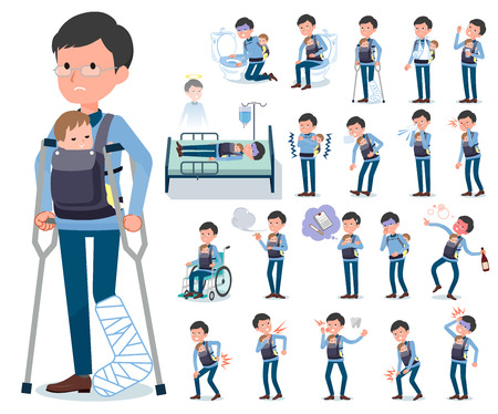 A set of man holding a baby with injury and illness.There are actions that express dependence and death.It's vector art so it's easy to edit. Vector Illustratie