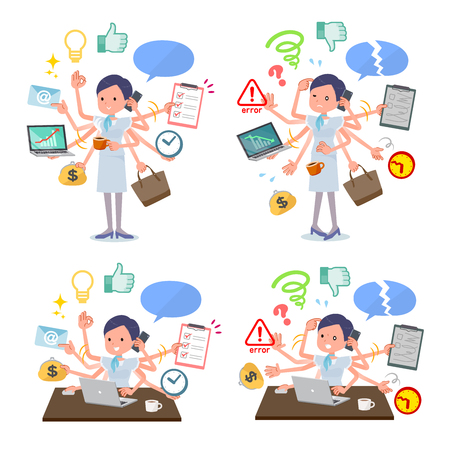 A set of Business women who perform multitasking in the office.There are things to do smoothly and a pattern that is in a panic.Its vector art so its easy to edit. 일러스트