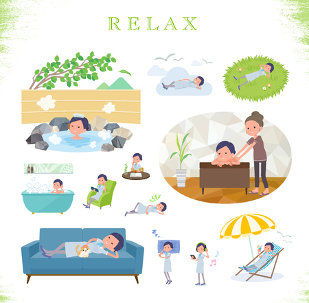A set of Business women about relaxing.There are actions such as vacation and stress relief.It's vector art so it's easy to edit.
