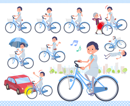 A set of Business women riding a city cycle.There are actions on manners and troubles.It's vector art so it's easy to edit.  イラスト・ベクター素材