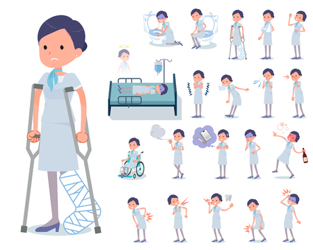 A set of Business women with injury and illness.There are actions that express dependence and death.It's vector art so it's easy to edit. Illustration