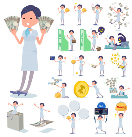 A set of Business women with concerning money and economy.There are also actions on success and failure.It's vector art so it's easy to edit.