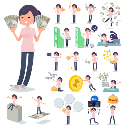A set of chiropractor women with concerning money and economy.There are also actions on success and failure.Its vector art so its easy to edit.
