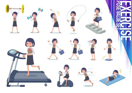 A set of women on exercise and sports.There are various actions to move the body healthy.It's vector art so it's easy to edit.