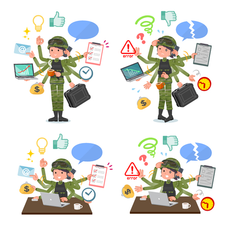 A set of Army women who perform multitasking in the office.There are things to do smoothly and a pattern that is in a panic.Its vector art so its easy to edit. 일러스트