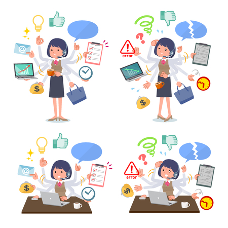 A set of women who perform multitasking in the office.There are things to do smoothly and a pattern that is in a panic.Its vector art so its easy to edit. 일러스트