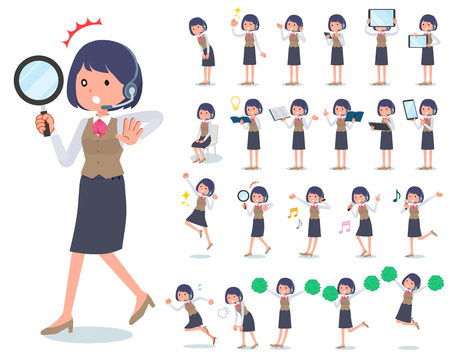 A set of women with digital equipment such as smartphones.There are actions that express emotions.It's vector art so it's easy to edit.