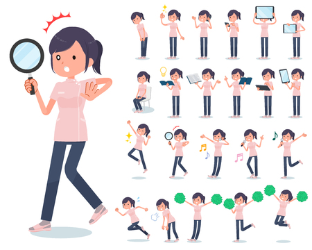 A set of chiropractor women with digital equipment such as smartphones.There are actions that express emotions.Its vector art so its easy to edit.