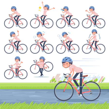 A set of chiropractor women on a road bike.There is an action that is enjoying.Its vector art so its easy to edit.  イラスト・ベクター素材
