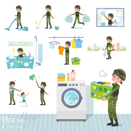A set of Army women related to housekeeping such as cleaning and laundry.There are various actions such as child rearing.Its vector art so its easy to edit. Illustration